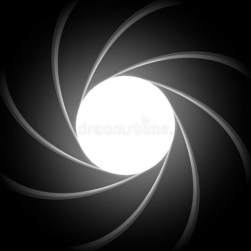 Secret agent gun barrel inside. Super agent theme vector background. Inside pistol barrel swirl and spiral illustration royalty free illustration
