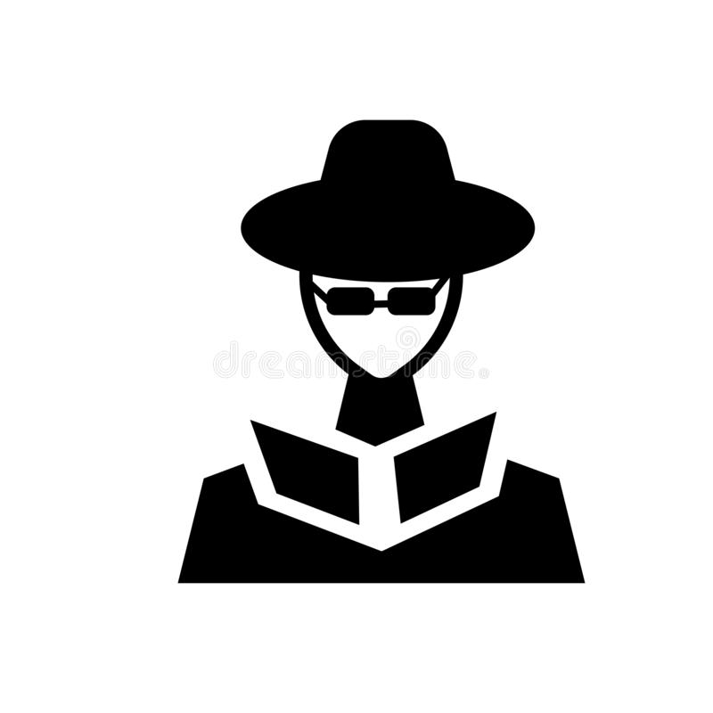 Secret agent icon. Trendy secret agent logo concept on white background from army and war collection. Suitable for use on web apps, mobile apps and print media stock illustration