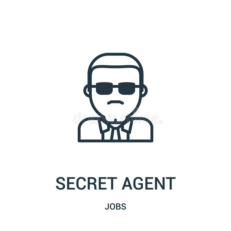 secret agent icon vector from jobs collection. Thin line secret agent outline icon vector illustration. Linear symbol royalty free illustration