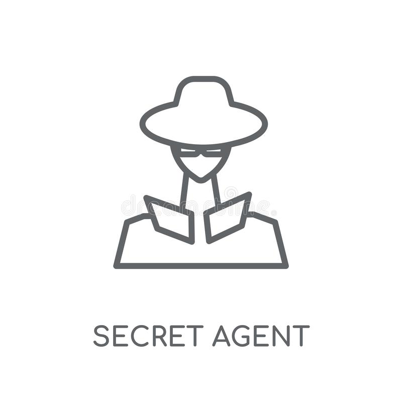 Secret agent linear icon. Modern outline secret agent logo conce. Pt on white background from army and war collection. Suitable for use on web apps, mobile apps royalty free illustration