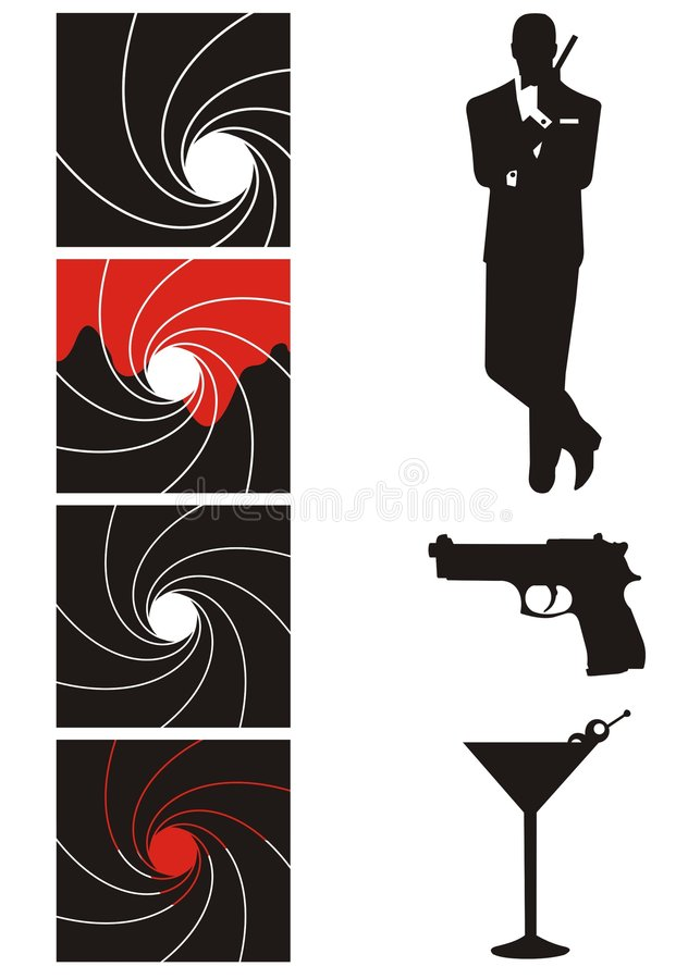 Secret agent set. Set of items that characterize classical secret agent vector illustration