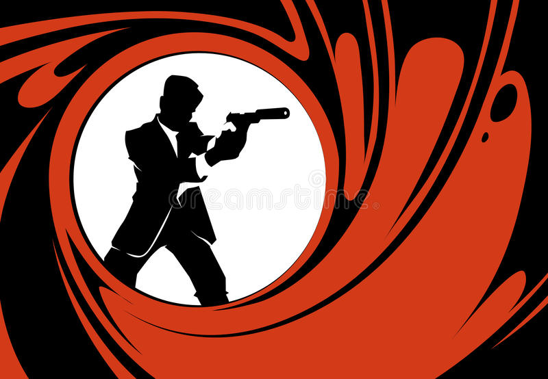 Secret agent or spy vector silhouette. Detective person, police man with weapon illustration royalty free illustration