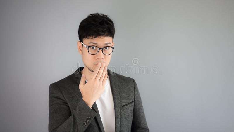 Secret of Asian man business. stock photo