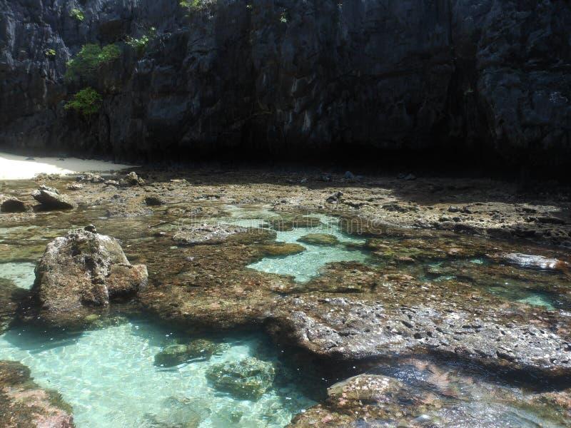 Secret beach in El Nido, the Philippines. The image of secret beach in El Nido stock photography