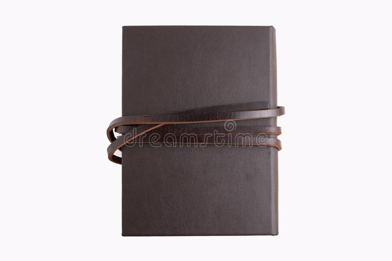 Secret brown leather book with white background royalty free stock photos