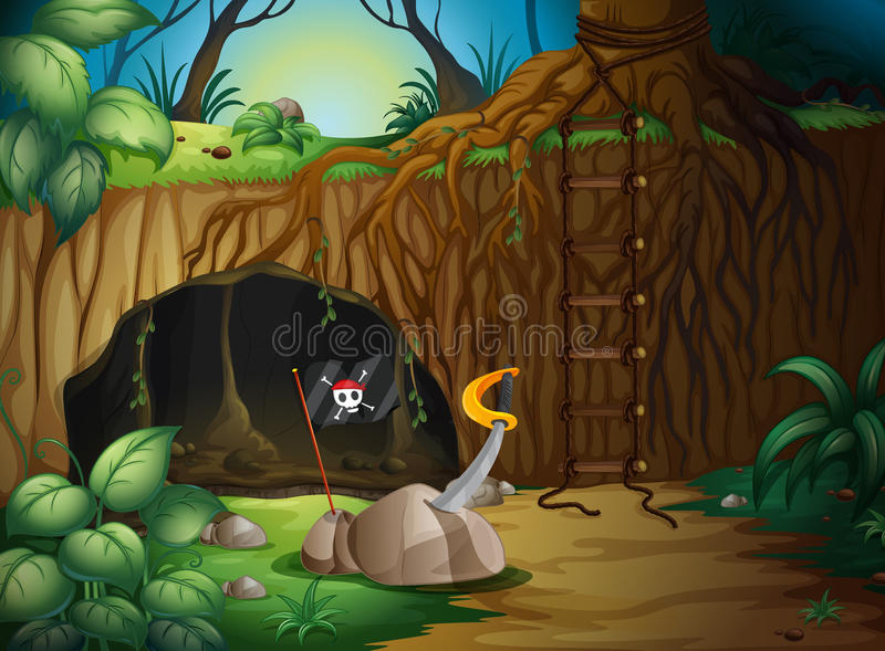 A secret cave in the woods royalty free illustration