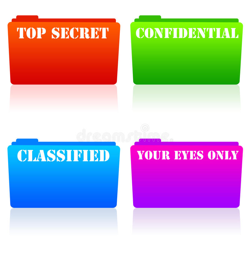 Secret data. Confidential, secret and classified data, files and information stock illustration