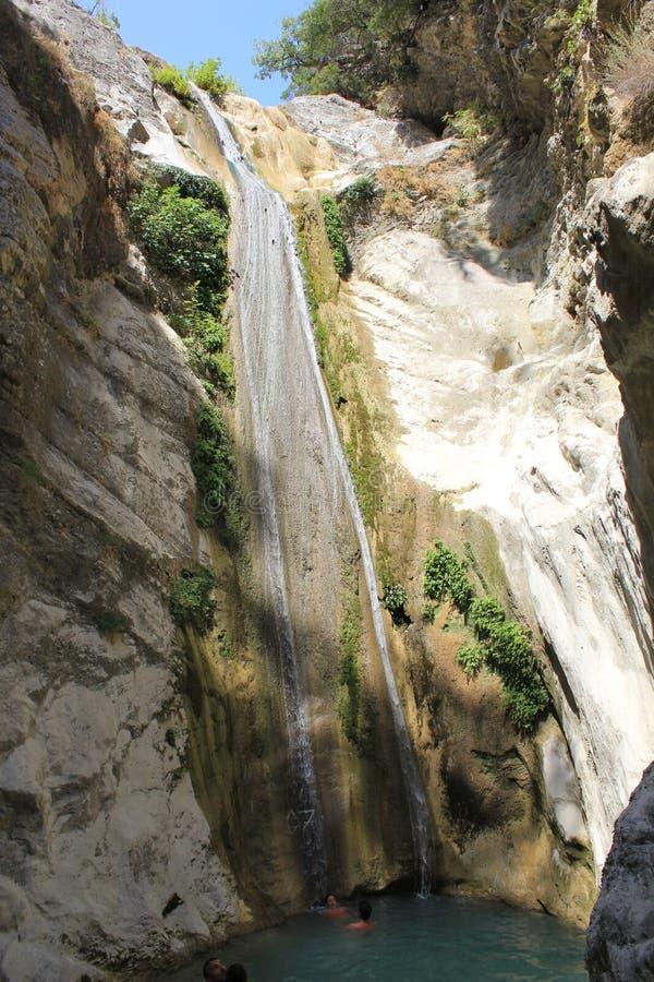 Secret Dimosari waterfall near Nydri village stock photography