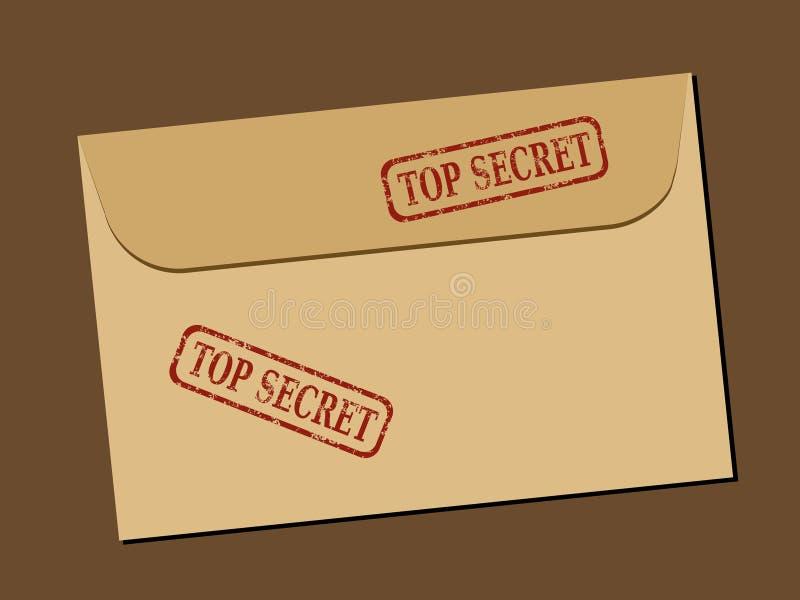 Secret document. Top secret document in envelope. Rubber stamp - grungy illustration with text Top Secret stock illustration