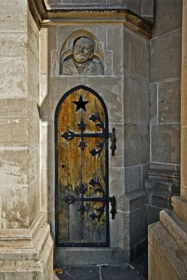 Secret door. Leading into the Cathedral of St. Elizabeth royalty free stock photo