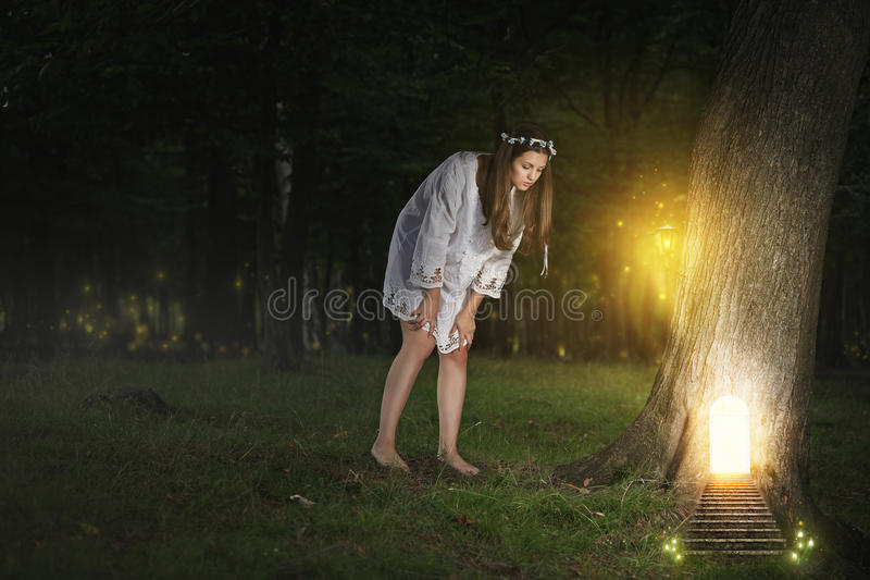 Secret door to fairy realm stock photos