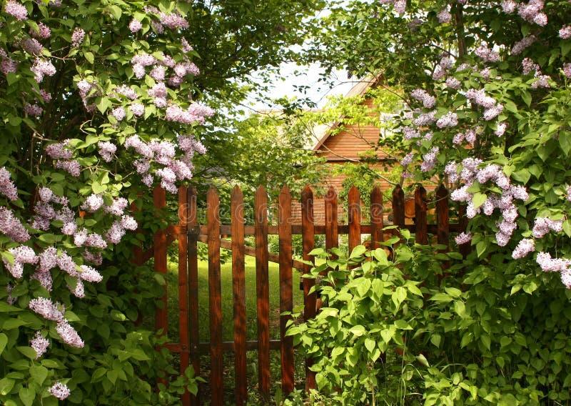 Secret entrance to the garden stock photography