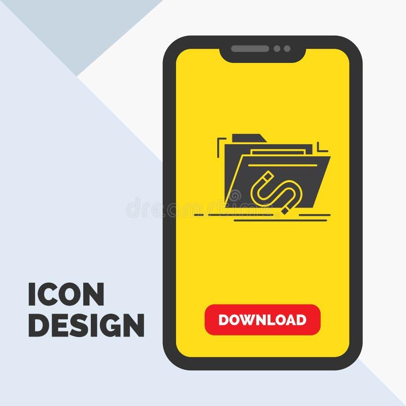 Secret, exploit, dossier, Internet, icône de Glyph de logiciel dans le mobile pour la page de téléchargement Fond jaune illustration de vecteur