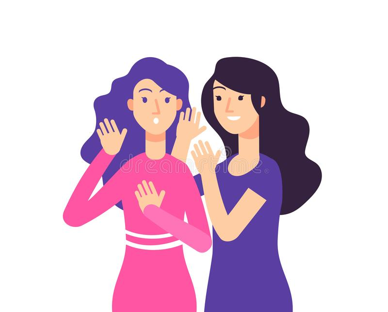 Secret. Female speaking rumor gossip whisper woman gossiping surprised lady secret whispering vector concept vector illustration