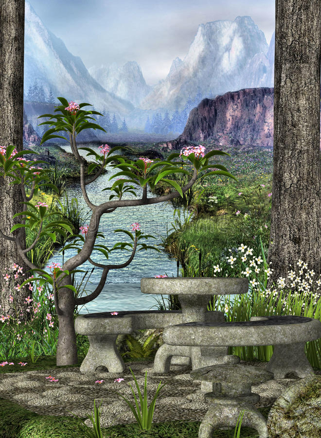Secret Garden. A quiet and beautiful garden with stone table and benches stock illustration