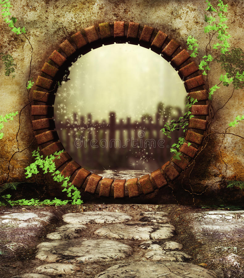 Secret garden Gate. 3D Digital render of a round garden gate and entry to secret garden stock illustration