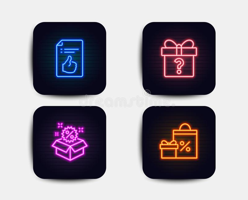 Secret gift, Sale and Approved document icons. Shopping sign. Unknown package, Discount, Like symbol. Vector stock illustration