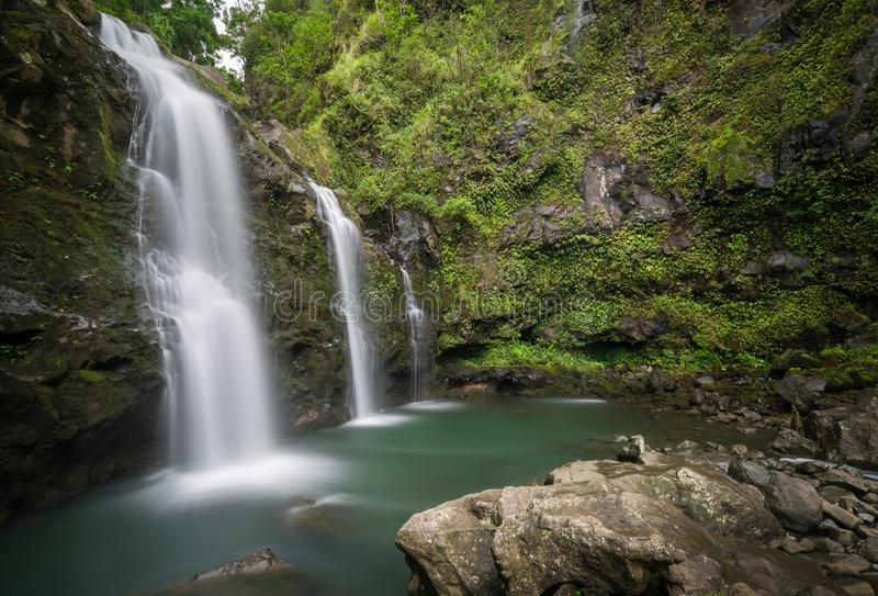 Secret Hawaiian waterfall deep in the Jungles of Maui stock photography