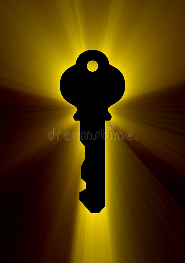 Secret key. Black key in golden streaks background vector illustration