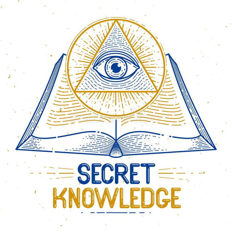 Secret knowledge vintage open book with all seeing eye of god in sacred geometry triangle, insight and enlightenment, masonry or royalty free illustration