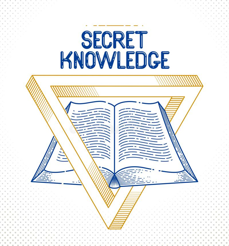 Secret knowledge vintage open book with sacred geometry triangle, insight and enlightenment, education and science, vector logo or. Emblem design element royalty free illustration