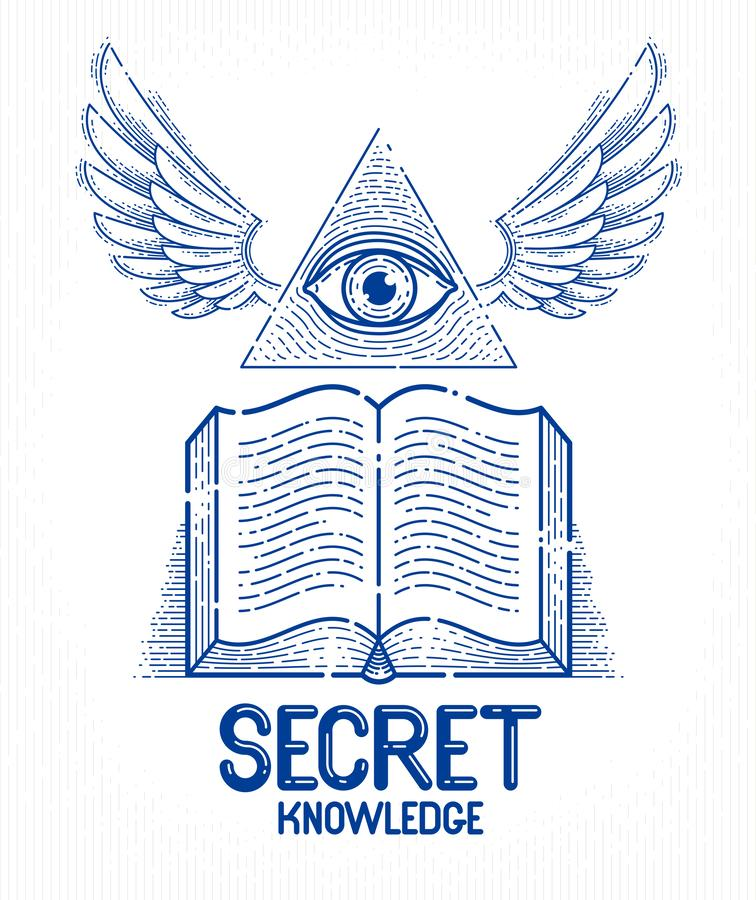 Secret knowledge vintage open winged book with all seeing eye of god in sacred geometry triangle, masonry or illuminati symbol, stock illustration