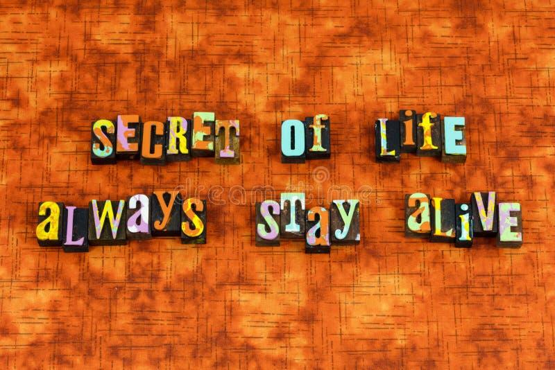 Secret life success health live letterpress stock images