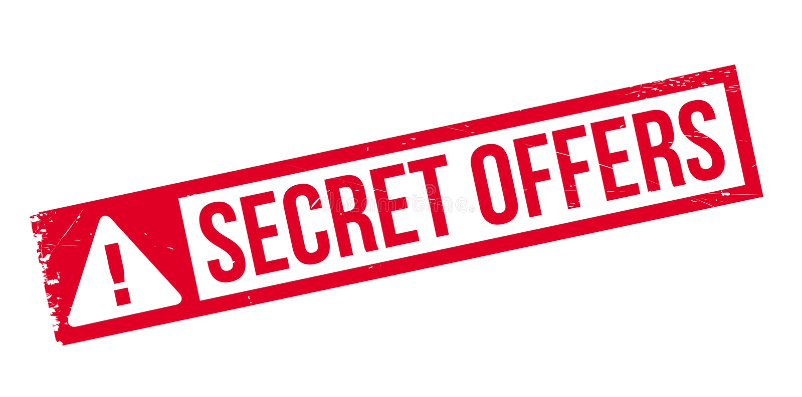 Secret Offers rubber stamp. Grunge design with dust scratches. Effects can be easily removed for a clean, crisp look. Color is easily changed stock images