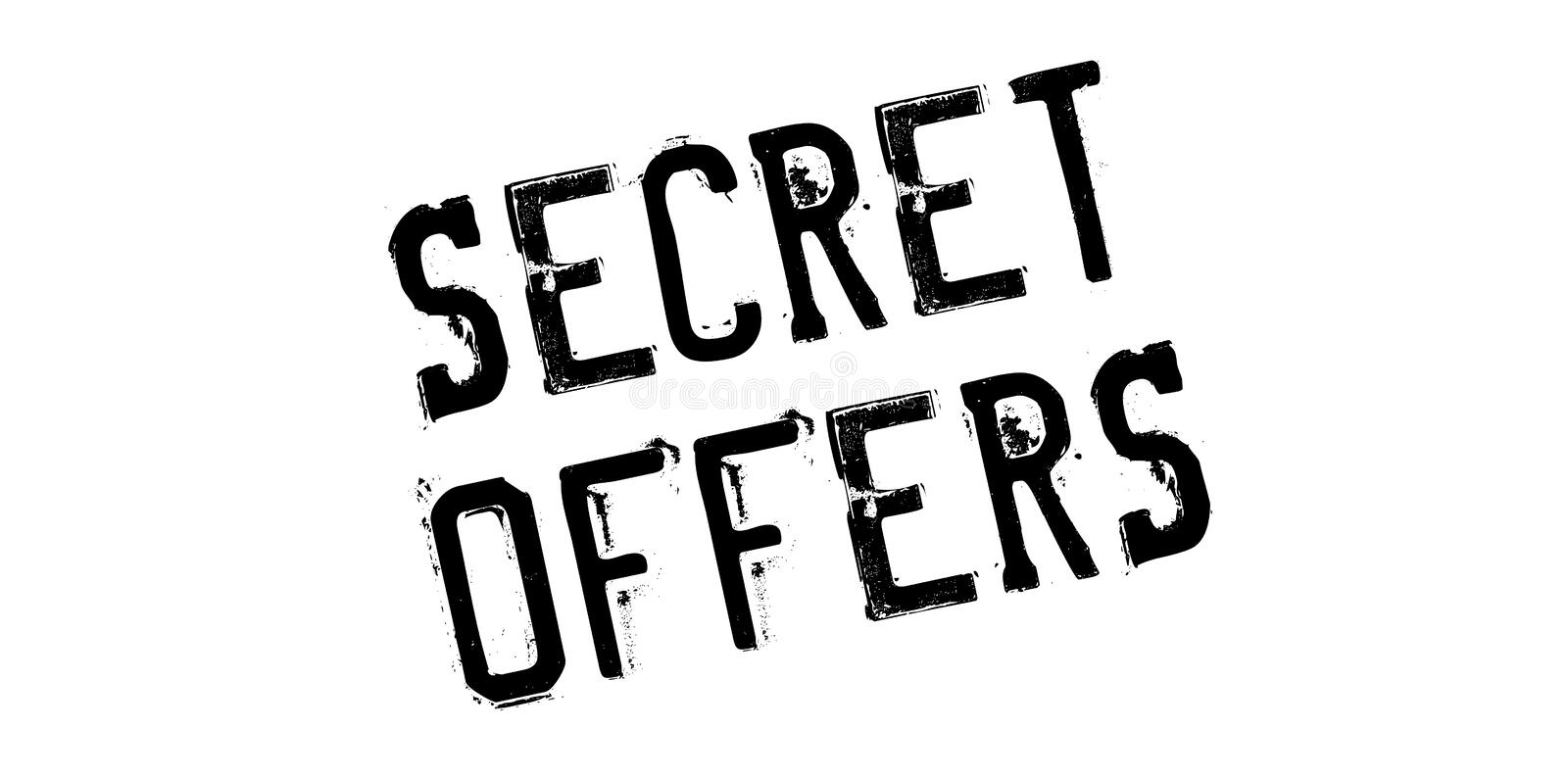 Secret Offers rubber stamp. Grunge design with dust scratches. Effects can be easily removed for a clean, crisp look. Color is easily changed royalty free stock images
