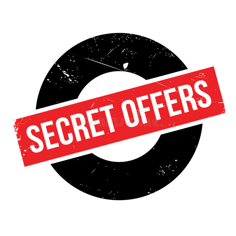 Secret Offers rubber stamp. Grunge design with dust scratches. Effects can be easily removed for a clean, crisp look. Color is easily changed stock photography