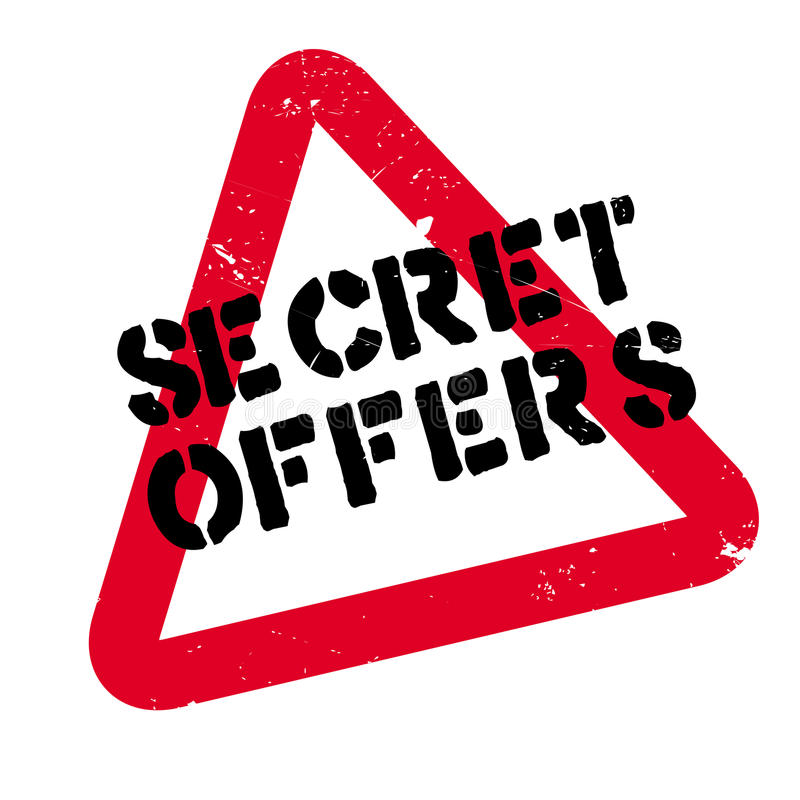 Secret Offers rubber stamp. Grunge design with dust scratches. Effects can be easily removed for a clean, crisp look. Color is easily changed stock photo
