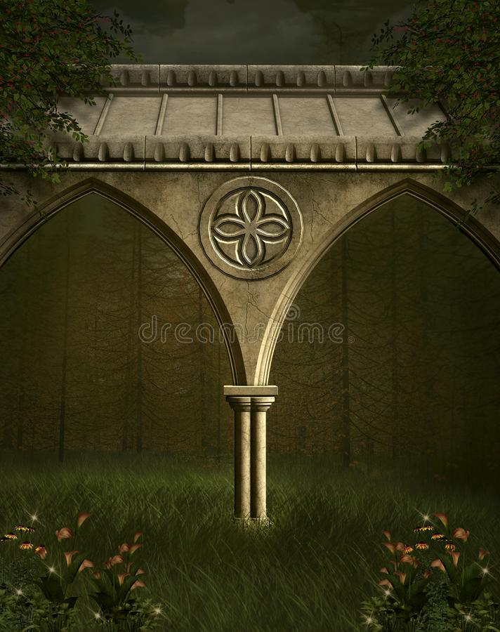 T Shirts Passage Doorway Through Enchanted Foggy Magical Palace Garden Night Sce