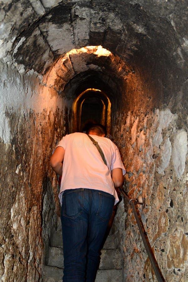 Secret passage in Bran castle, home of Dracula, Brasov, Transylvania royalty free stock images