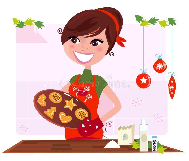 Secret recipe: Woman preparing christmas cookies royalty free illustration