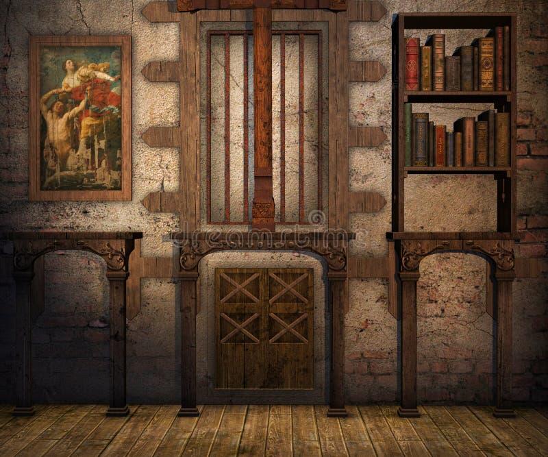 Secret room. Secret wall and room background 3D illustration vector illustration