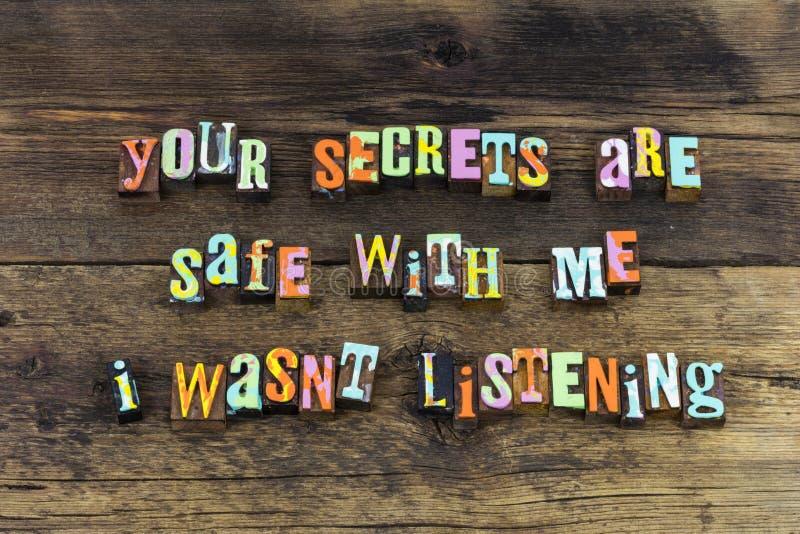 Secret safe listen aware alert letterpress text. Secret safe listen aware alert letterpress typography awareness attention confidence confidential conversation stock photography
