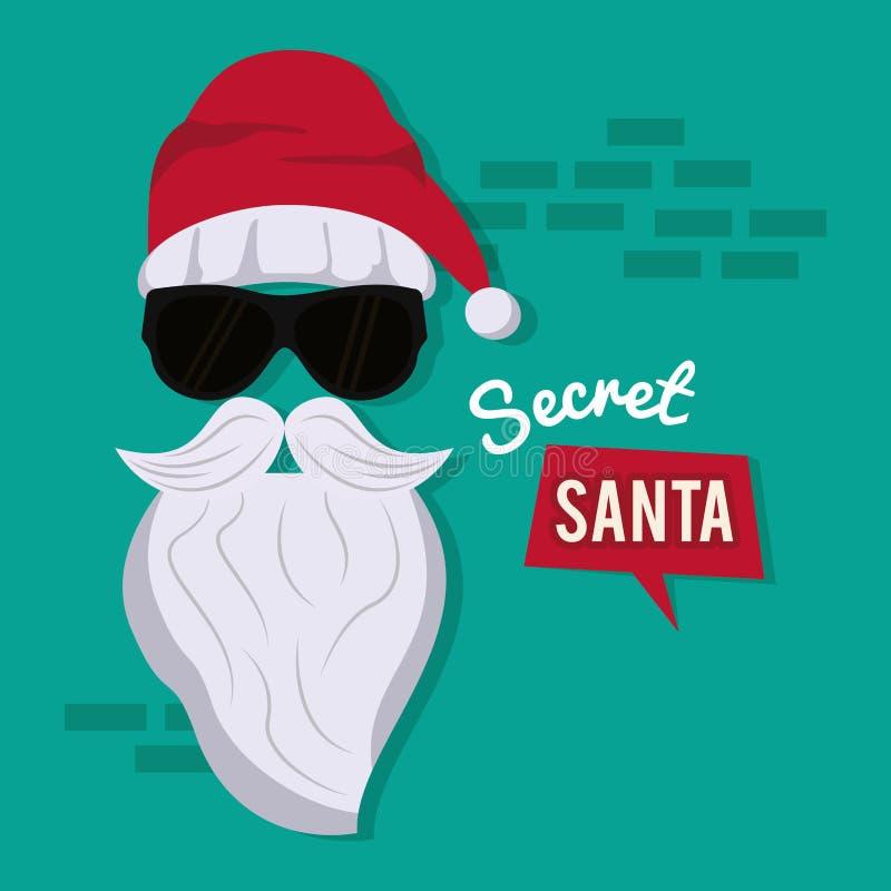 Secret santa cartoon vector illustration
