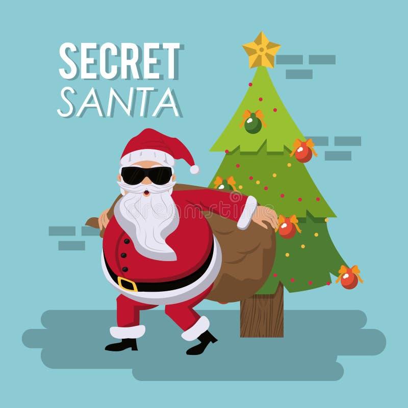 Secret santa cartoon royalty free illustration