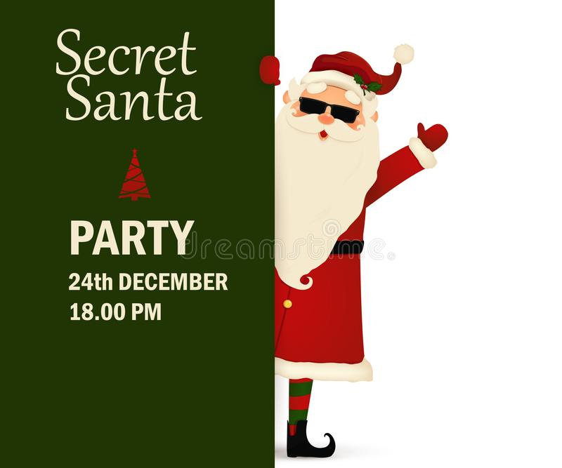 Secret Santa Claus invitation background standing behind a blank sign, showing on big blank sign. Cartoon Santa Claus royalty free illustration