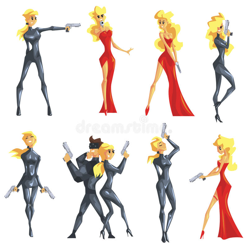 Secret Service Female Agent Undercover. Blond Woman Professional Asset In Red Fancy Dress And On Duty. Cartoon Hero Crime Fighter Character Colorful Vector royalty free illustration