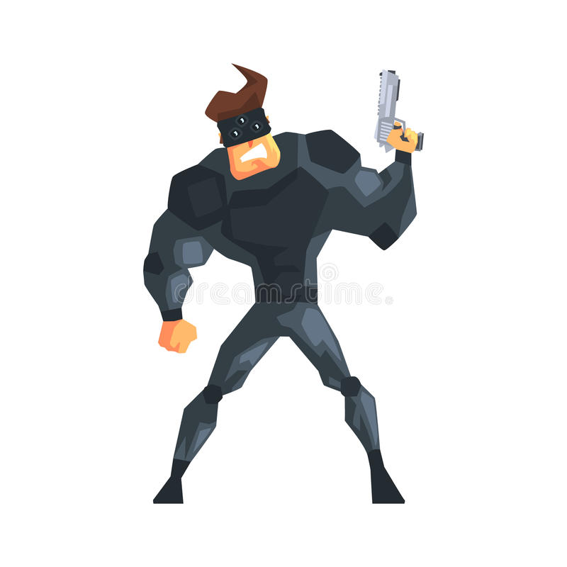 Secret Service Male Agent Taking Cover Undercover. Handsome Muscly Professional Man Asset In Fancy Suit And On Duty. Cartoon Hero Special Force Crime Fighter vector illustration