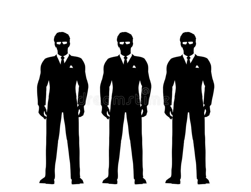 Secret service men in suits. Illustration of three black silhouetted secret service or security men in suits with sunglasses or shades, isolated on white stock illustration