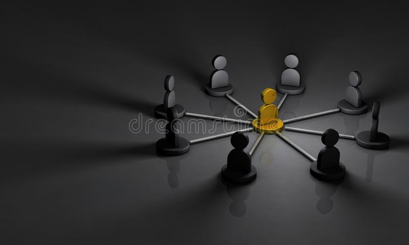 Secret society of the back society. Dealing with that mastermind. 3D illustration. Dark background vector illustration