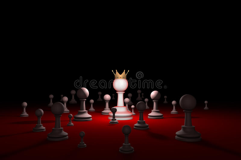 Secret society. Sect. Leader (chess metaphor). 3D render illustration. Free space for text. stock photo
