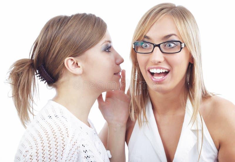 Secret teller. Two friends talking something secret royalty free stock images