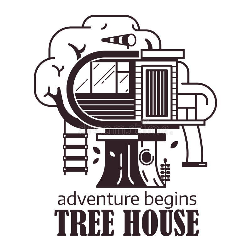 Secret Tree House Logo Emblem. Secret tree house logo or label template. Wooden cabin on old oak adventure emblem. Forest tree home logotype or icon in vector illustration