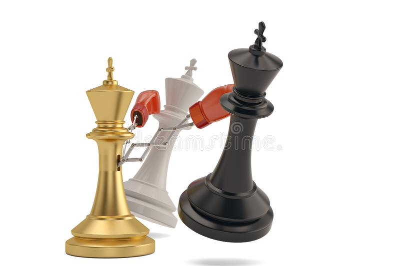 Secret weapon business concept with a chess king joke boxing glove.3D illustration royalty free illustration
