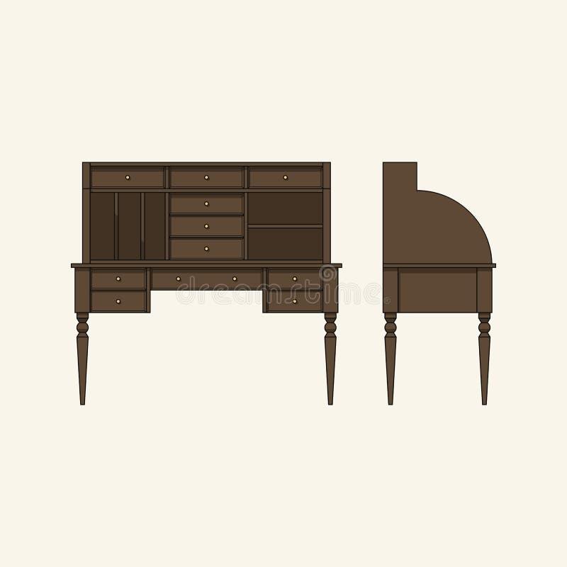 Secretaire en bois avec des tiroirs illustration de vecteur