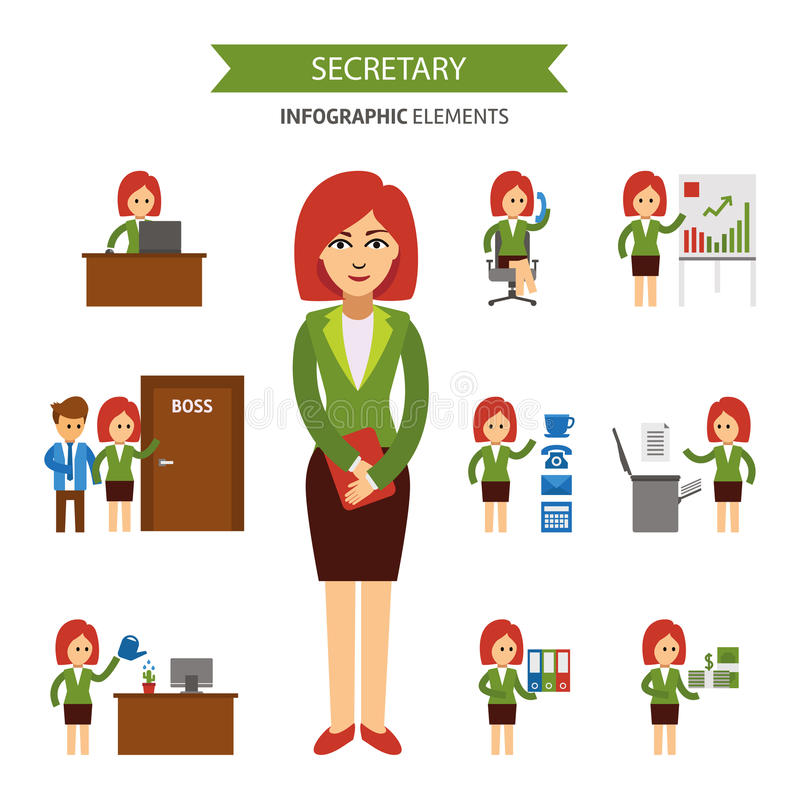 Secretaresse bij het werk infographic elementen Het bedrijfsvrouw werken in het bureau, een presentatie, die aan de telefoon, kom stock illustratie