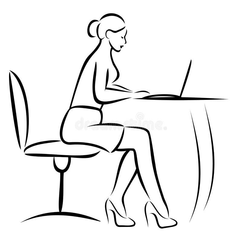 Secretaresse in bureau vector illustratie afbeelding 48235543 - Secretaresse witte ...